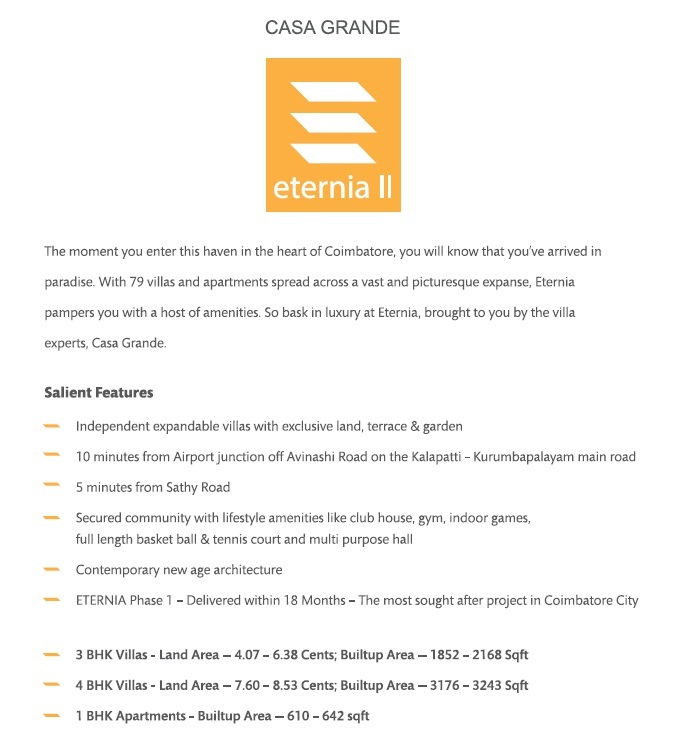 Casa Grande Eternia 2 Coimbatore