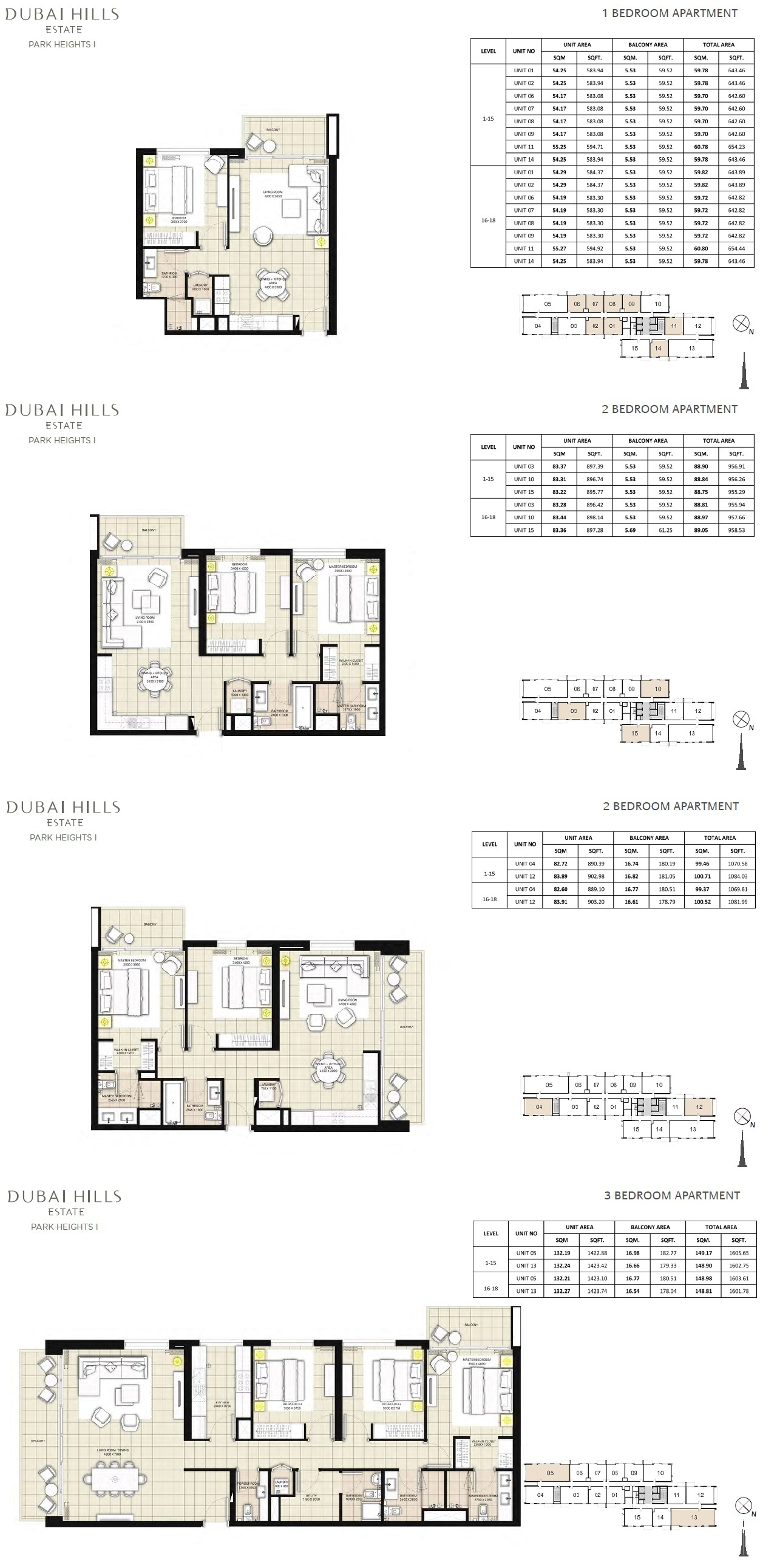 Emaar park heights dubai hills for Floor plans jumeirah heights