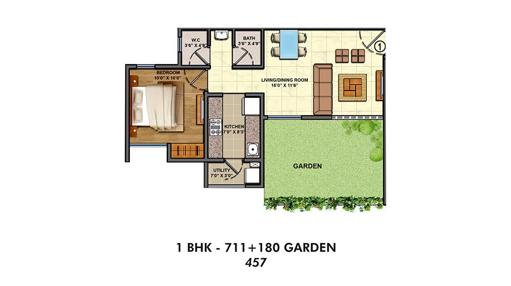 Siena-Unit-Plan-1-BHK-Garden-Typical - Auric Acres Dubai UAE   India ...