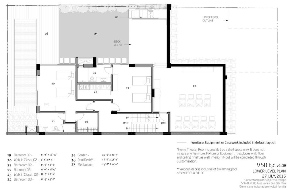 Villa V50b Lower level plan