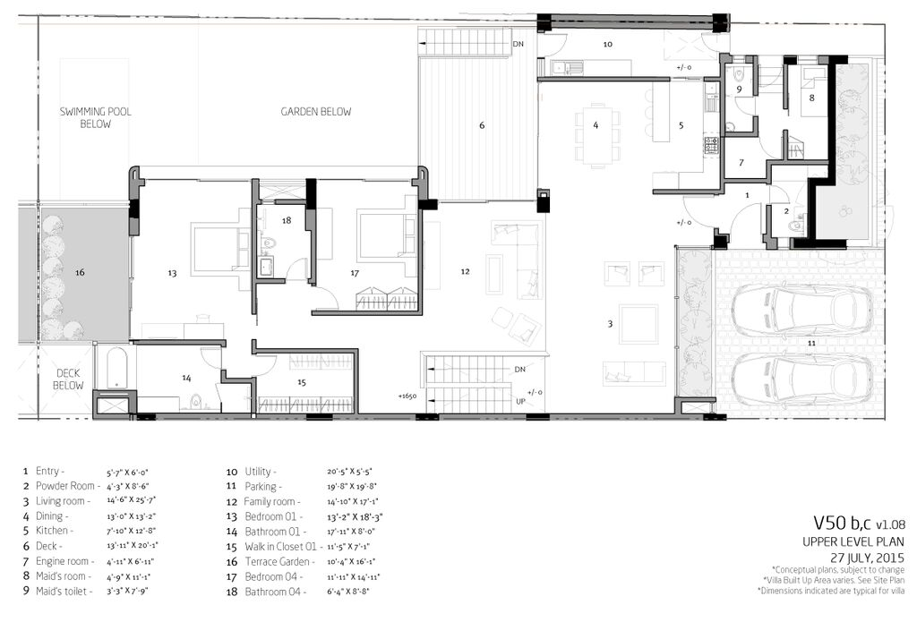 Villa V50b Upper level plan